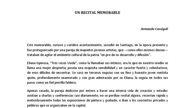 Armando Cassigoli – Un recital memorable